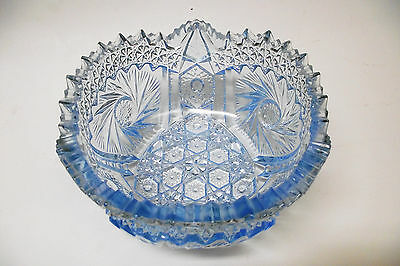 Vtg. L. E. Smith Ice Blue Glass Bowl Comet In The Stars Pinwheel