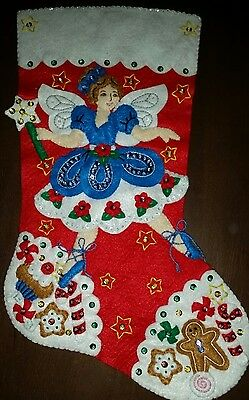 "Finished Bucilla "" Fairy Sweet 16"" Christmas Stocking - Handstitched"