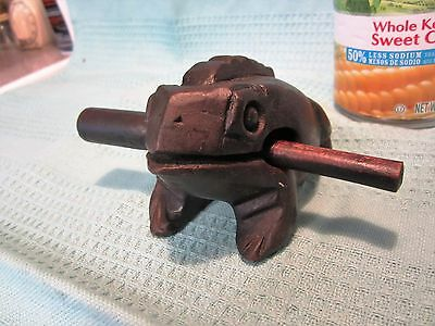Large Wooden Croaking Frog Handcarved Kids Musical Toy