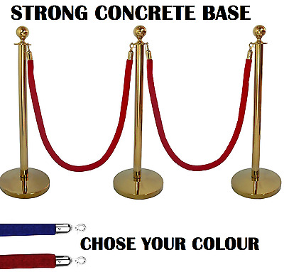 3 X Brass Queue Barrier Posts Security Stanchion Rope Divider Steel Set Gold