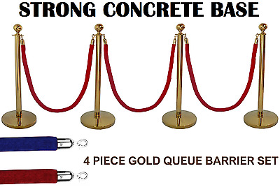 4 X Brass Queue Barrier Posts Security Stanchion Rope Divider Steel Set Gold