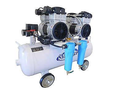 New 3 1/4HP Dental Noiseless Oil-Free Air Compressor w/ 2 stage dryer