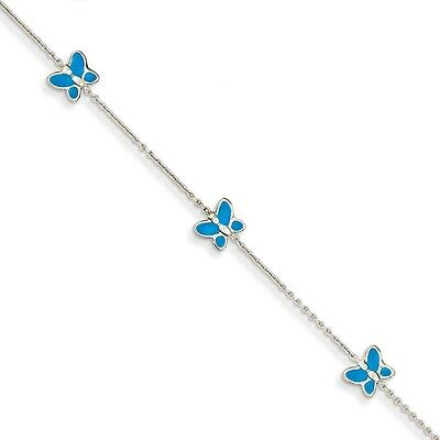 10 Inch 14k White Gold Blue Enameled Butterfly Anklet JANK89-10