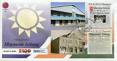 Namibia 2016 FDC Allgemeine Zeitung 100 Years 2v Set Cover Newspapers Stamps