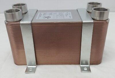 "NEW! 70 Plate Water to Water Plate Heat Exchanger 11/4"" FPT Port w/BRACKETS"