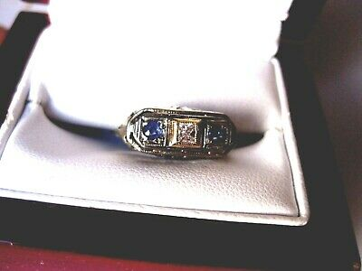 ANTIQUE 14K WHITE GOLD FILIGREE RING with DIAMOND & SAPPHIRES,ART DECO,1920's