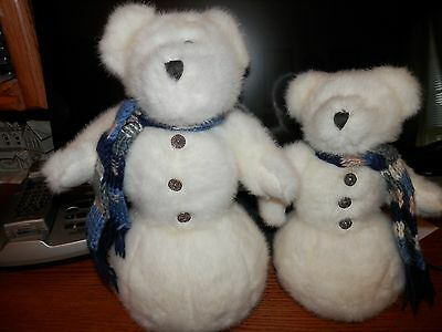Lot Of 2 Boyd's White Teddy Bears Christmas Snow Men With  Scarves & Tags