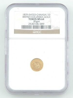 1879 British Columbia Gold One Dollar Token MS-64 NGC Slabbed Canada $1 Miners