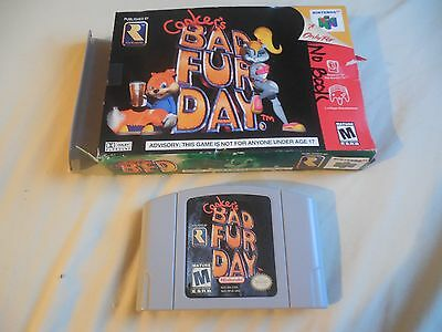 Conker's Bad Fur Day (Nintendo 64, 2001) WITH BOX NO MANUAL