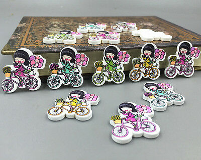 DIY Wooden girl bicycle sewing Buttons scrapbooking Crafts Mixed color 26mm