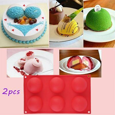 2pc 6 Half Ball Round Chocolate Cake Candy Soap Mold Flexible Silicone Mould SY