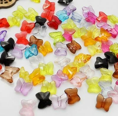 100/1000Pcs Mixed Acrylic Butterfly Spacer Beads For Jewelry Making 10x9mm