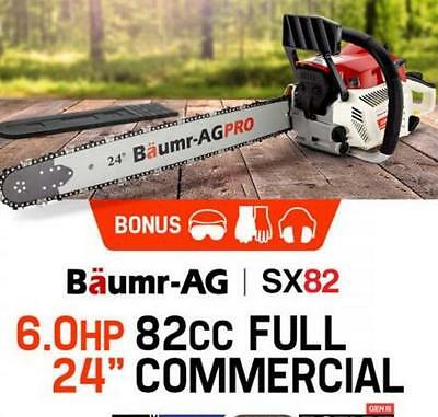 "24"" SX82 Chainsaw with E-Start Petrol EURO 2-2 Stroke Commercial Chain Sharpener"