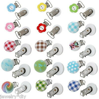 JD1PC Baby Pacifier Clips Round Shape Jewelry Accessories