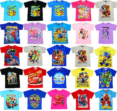 NEW Sz 1~12 KIDS SUMMER T-SHIRT BOYS GIRLS OUTFITS TEES SPIDERMAN PAW AVENGER