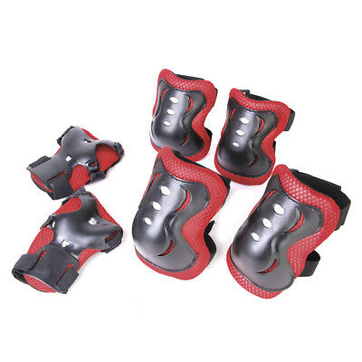 Kids Cycling Roller Skating Knee Elbow Wrist Protective Pads Black And Red