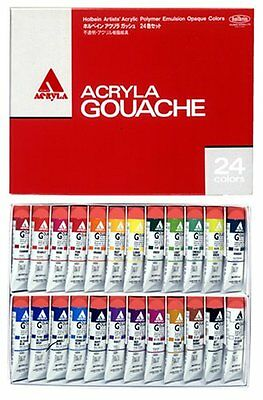 New Holbein ACRYLA GOUACHE 24 Colors Set Tube 20ml D416
