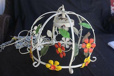 Shabby Chic Wrought Iron Tole Flowers Birdcage Ceiling Light Chandelier • CAD $127.56
