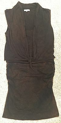 Surface to Air Black Stretch Mini Dress W/Ruched Skirt & Wrap Top Size 1 /Small