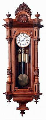 GEBRUDER RESCH WALNUT 3 WEIGHT GRAND SONNERIE VIENNA REGULATOR WALL CLOCK 1875c