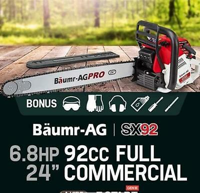 """24"""" 92cc SX92 Chainsaw Petrol 2 Stroke Commercial Easy Start Chainsaw"""