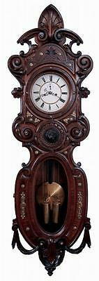 ANTIQUE LENZKIRCH BOMBE CASE TWO WEIGHT 8 DAY VIENNA REGULATOR WALL CLOCK 1862c