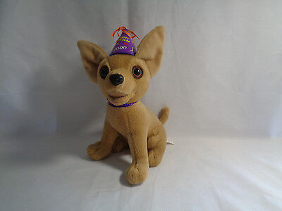 """Taco Bell Talking 2000 """"Happy New Year Amigos"""" Chihuahua Plush Dog Toy"""