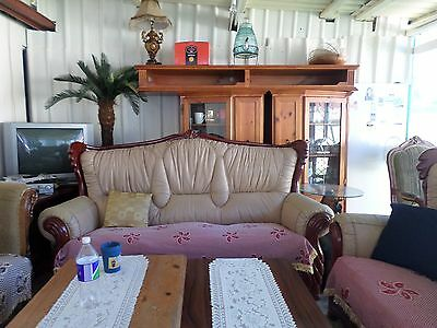 Antique Leather 2x 3 Seater Lounges