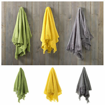 Green Yellow Charcoal - Declan Fringed Bed Throw Runner Blanket Rug by Bianca