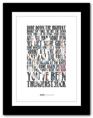 ❤ AC/DC - Thunderstruck ❤ typography quote poster art limited edition print #10