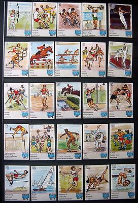 Munich 1972 Olympic Matchbox Labels - 32 Different Sports Labels