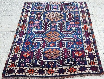 Antique Caucasian Pattern Hand Made Small Pile Rug 3'5''x5'1'' Great Rare Design
