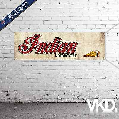 Vintage Look Indian Motorcycles Banner - Man Cave Work Garage Shed Sticker 1901
