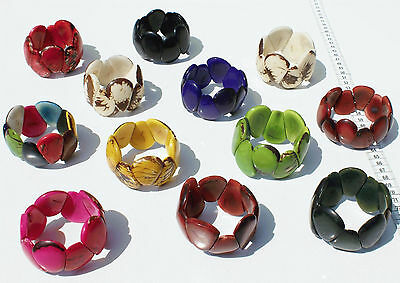 Lot 7 Bracelets Colored Tagua Nut Beads Handmade Jewelry Craft Wholesale Ecuador