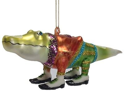 ZM415 Crocodile Alligator in Tuxedo Glass Christmas Ornament Decoration Groom