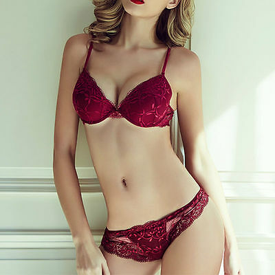 Sexy Women's Embroidery Lace Lingerie Underwire Push-Up Padded Bra Underwear Set
