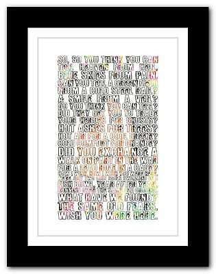 PINK FLOYD Wish You Were Here ❤  song lyrics typography poster art print #55
