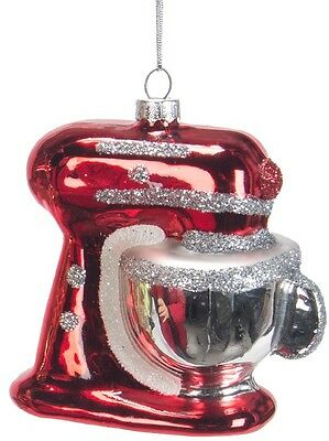 ZM448 Red Kitchen Aid-style Stand Mixer Glass Christmas Ornament Decoration