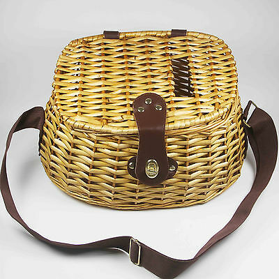 Vintage Willow Wicker Fish Creel Tapered Basket W/ Strap