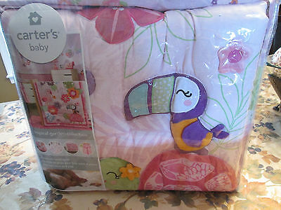 Carters Baby Tropical Garden 4-Piece Crib Bedding Set Pink Flamingo NEW