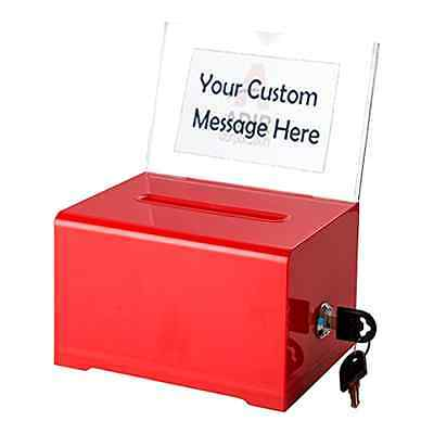 Box Lock Multiple Ballot Colors Acrylic Suggestion Donation Attractive Red Box