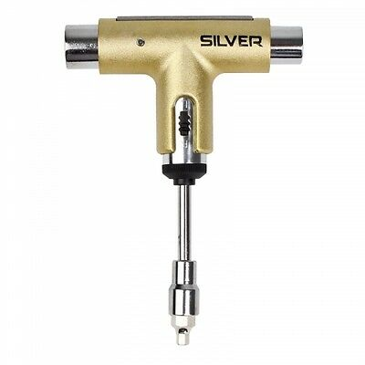 Silver Skate Tool Gold Premium Ratchet Complete Skateboard T-Tool FREE POST