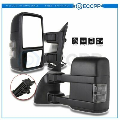 Towing For 99-16 Ford Super Duty Side Mirrors Manual Smoke Led Signal Pair Set