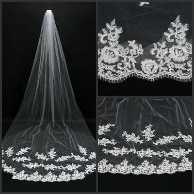 New 1T-Cathedral Wedding Veil With Lace Edge (9 Ft Long) - White Or Ivory