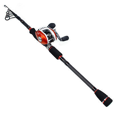Spinning Fishing Rod with Reel Set Combos Telescopic Travel Tackle Lure Gear Kit