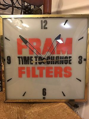 """Vintage 15 X 15 Fram """"Time To Change"""" Filter Clock From Whitestone NY"""
