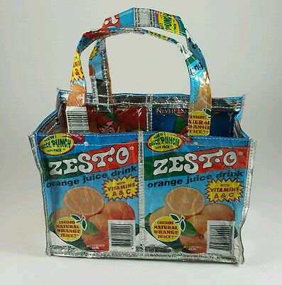 Small purse bag made from recycled Zesto drink pouches Disney's Peter Pan inside