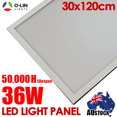 2x 36W Ceiling LED Panel Light 300x1200mm Cool White Slim Flat Wall Downlight