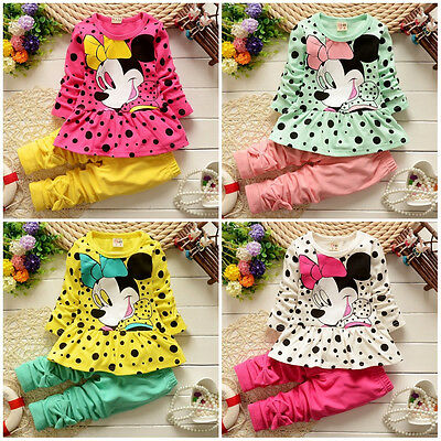 Cute Toddler Kids Girls Clothes Dot Minnie Mouse Tops Pants Leggings Outfits Set