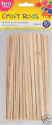 * Porta Craft * Flat Wooden Craft Rods 80 Pack Natural